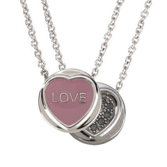 "Love Hearts - Mini ""Love"" Pink Enamel & Black Crystal Pendant"