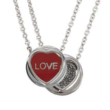 "Love Hearts - Mini ""Love"" Red Enamel & Black Crystal Pendant"