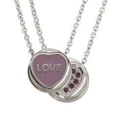 "Love Hearts - Mini ""Love"" Lilac Enamel & Purple Crystal Pendant"