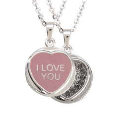 "Love Hearts Classic ""I Love You"" Pink Enamel & Black Crystal Pendant"