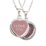 "Love Hearts Classic ""I Love You"" Pink Enamel & Pink Crystal Pendant"
