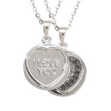 "Love Hearts Classic ""I Love You"" Silver Plate & Black Crystal Pendant"