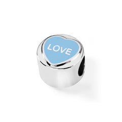 "Love Hearts ""Love"" Blue Enamel Sterling Silver Charm"
