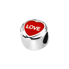 "Love Hearts ""Love"" Red Enamel Sterling Silver Charm"