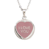 "Love Hearts Classic ""I Love You"" Pink Enamel Pendant"