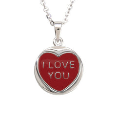 "Love Hearts Classic ""I love You"" Red Enamel & White Crystal Pendant"