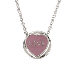 "Love Hearts - Mini ""Love"" Pink Enamel & Pink Crystal Pendant"