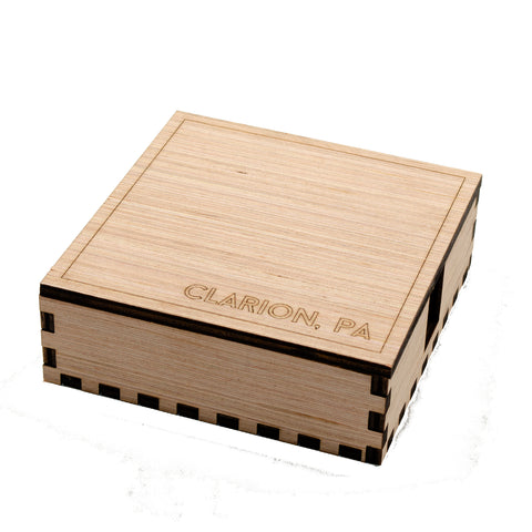 2 Holder Wooden Clarion Coaster Box