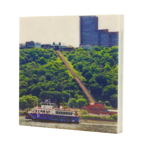 Duquesne Incline w/ Gateway Clipper Drink Coaster - Pittsburgh, PA - 085