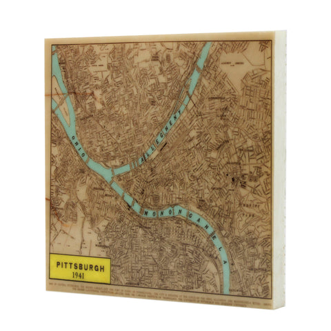 Vintage Map of Pittsburgh Drink Coaster - 104