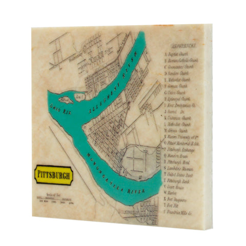 1921 Map of Pittsburgh Drink Coaster - 101