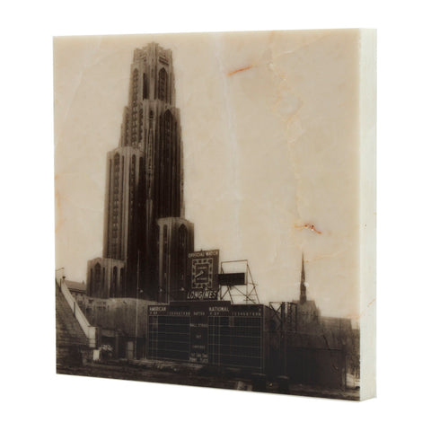 Forbes Field Score Board w/ Cathedral of Learning Pittsburgh, PA Drink Coaster - 310