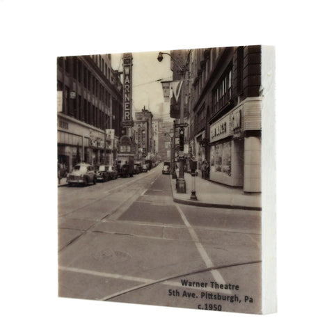 Warner Theater Downtown Pittsburgh Pa c. 1950 Drink Coaster - 049