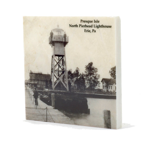 North Pierhead Lighthouse Erie PA Drink Coaster - E14