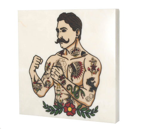 Marble Vintage Tattoo Guy Drink Coaster - 6004