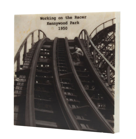 Working on the Racer at Kennywood Park Drink Coaster - Pittsburgh, PA - 334