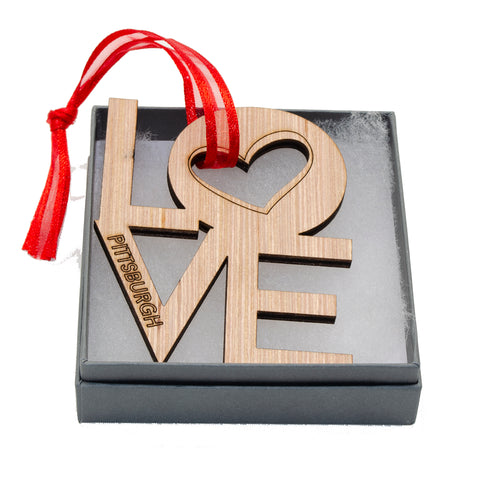 Wooden Pittsburgh Love Ornament - 561