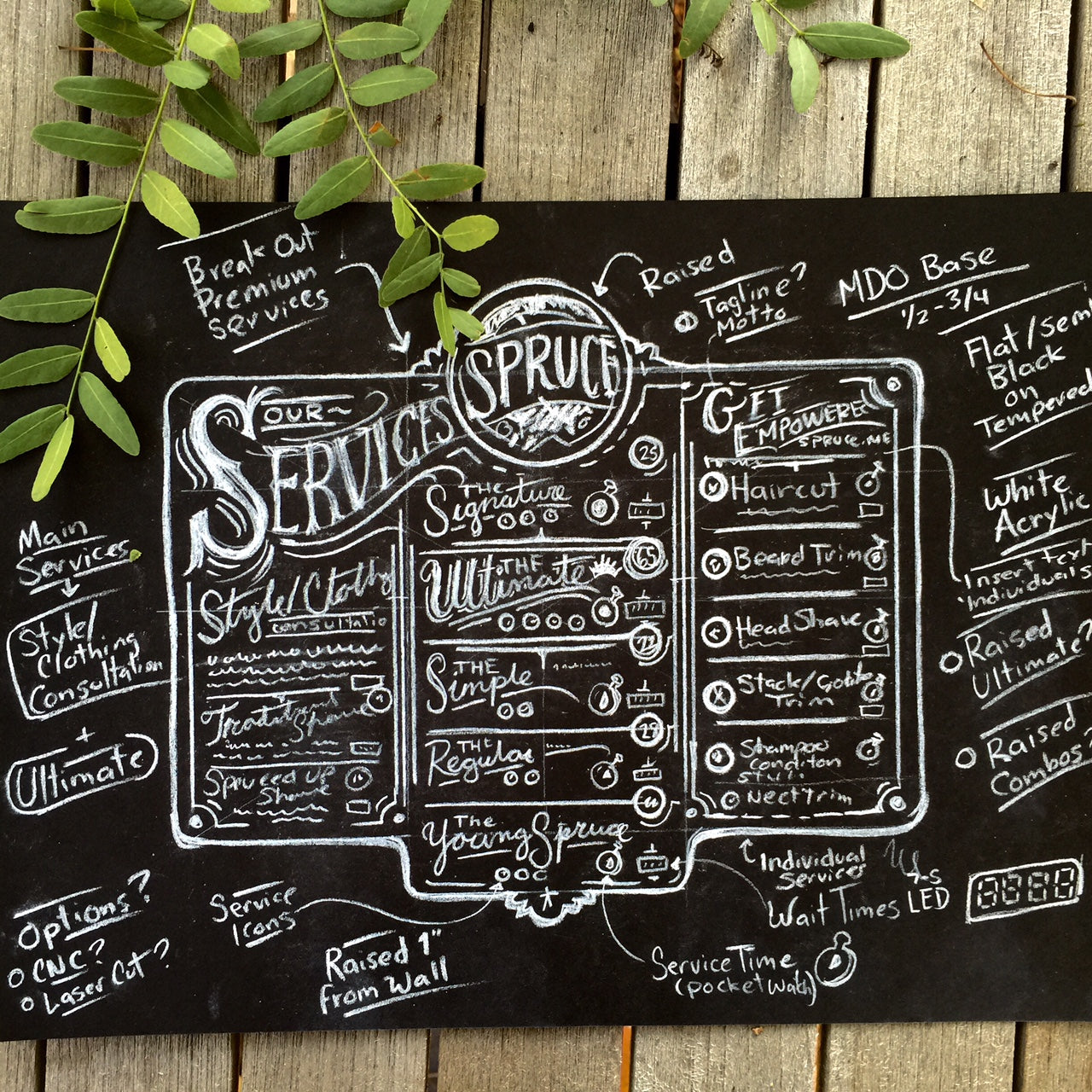 First hand drawn services menu concept