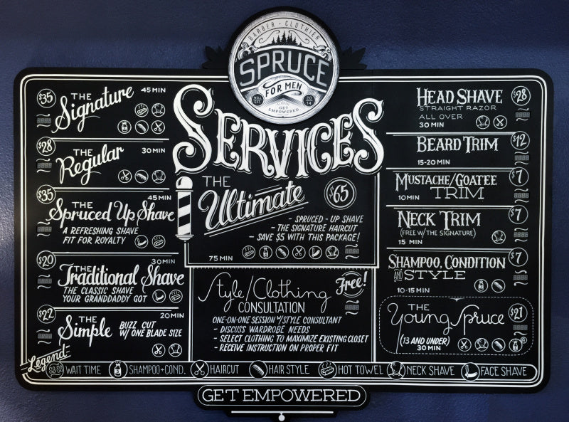 Spruce Menu of Services