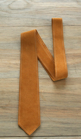 Stitched Gold Suede Leather Tie