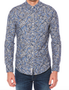 Splatter Print on Stretch Chambray Button Down Shirt
