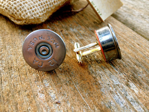 Cuff Links - Brass Shotgun