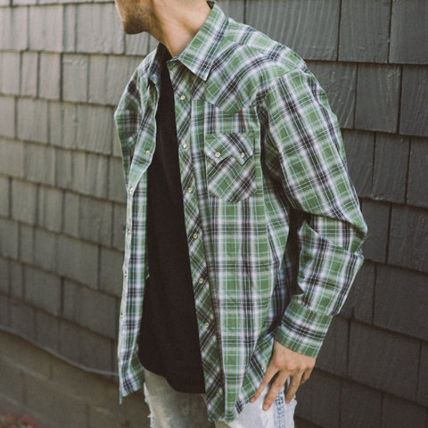 Vintage Green Plaid Snap Shirt