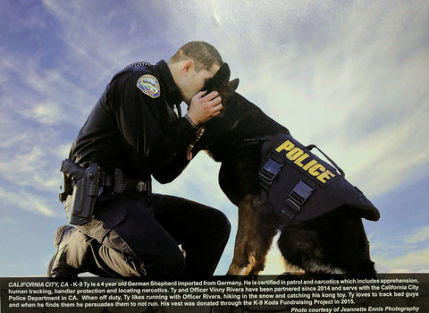 Vested Interest in K9s, Inc 2017 Calendar - January Officer Rivera and K9 Ty - RIP K9 Ty