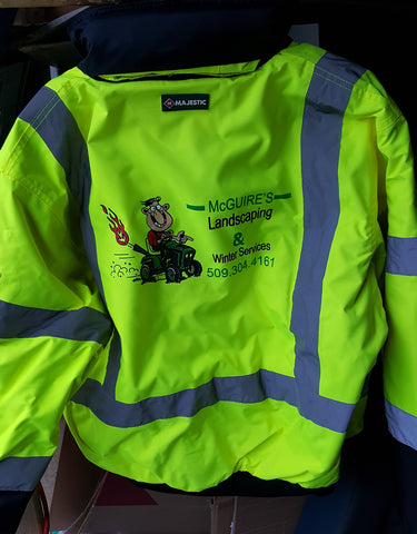 Custom Safety Jacket McGuires Landscaping |Global Construction Supply