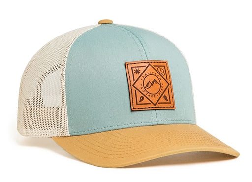 Sample Image Color Smoke Blue/Amber Gold/Beige Pacific Headwear 104C Trucker Snapback Hat