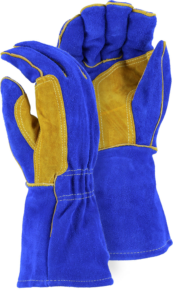 Majestic 1514BLT Blue Side Split Leather Welders Gloves Kevlar Sewn Sock Lined (DOZEN)