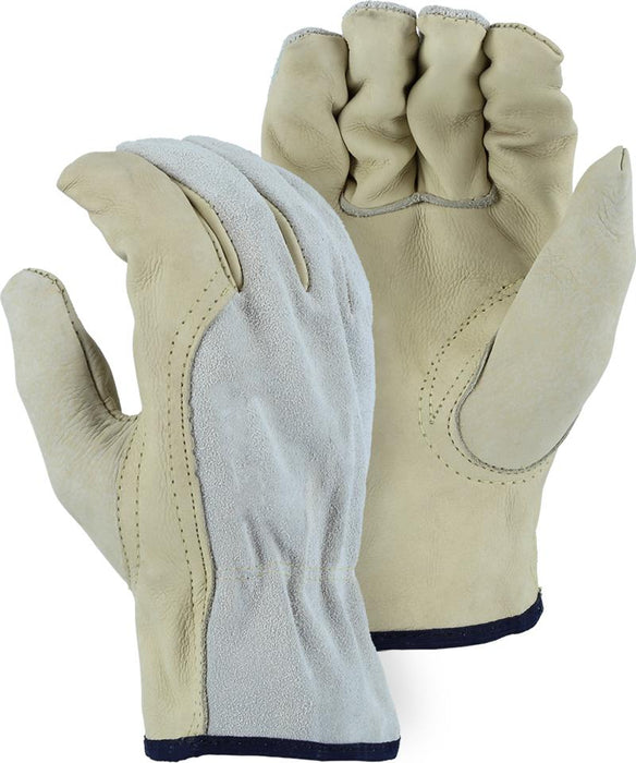 Majestic 1532B Combination Cowhide Leather Driver Gloves Kevlar Sewn (DOZEN) - Global Construction Supply