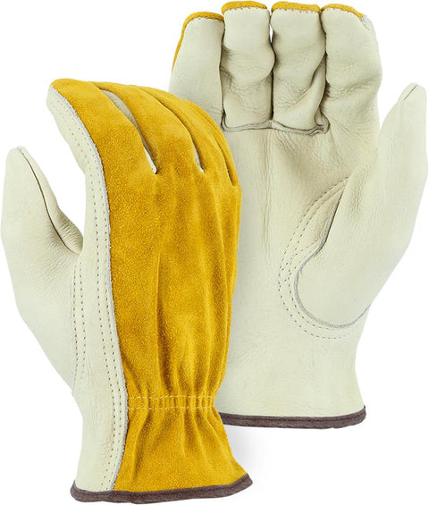 Majestic 1533B Split Back Cowhide Leather Driver Gloves Russet/Gray (DOZEN) - Global Construction Supply