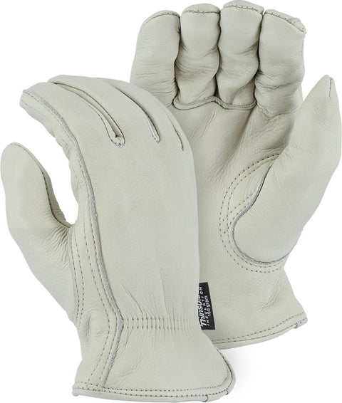 Majestic 1540T Gemsbok Leather Driver Gloves Shirred Back Thinsulate Lined (DOZEN) - Global Construction Supply