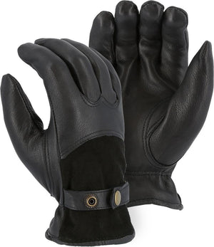 Majestic 1546T Black Deerskin Leather Driver Gloves Thinsulate Lined (DOZEN)