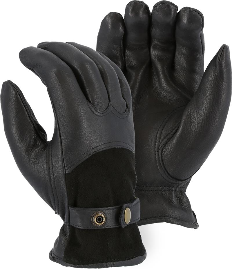 Majestic 1546T Black Deerskin Leather Driver Gloves Thinsulate Lined (DOZEN) - Global Construction Supply