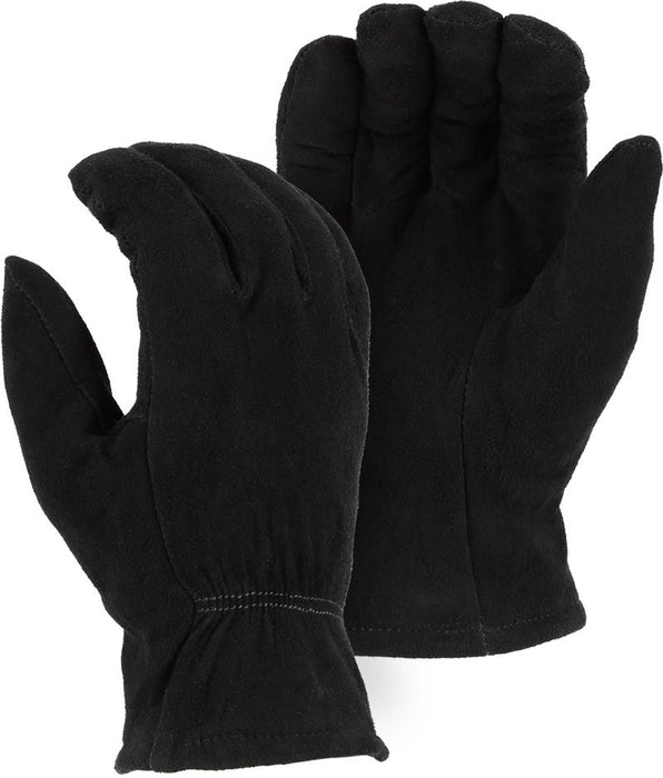 Majestic 1548BLK Black Split Deerskin Leather Driver Gloves Thinsulate Lined (DOZEN) - Global Construction Supply