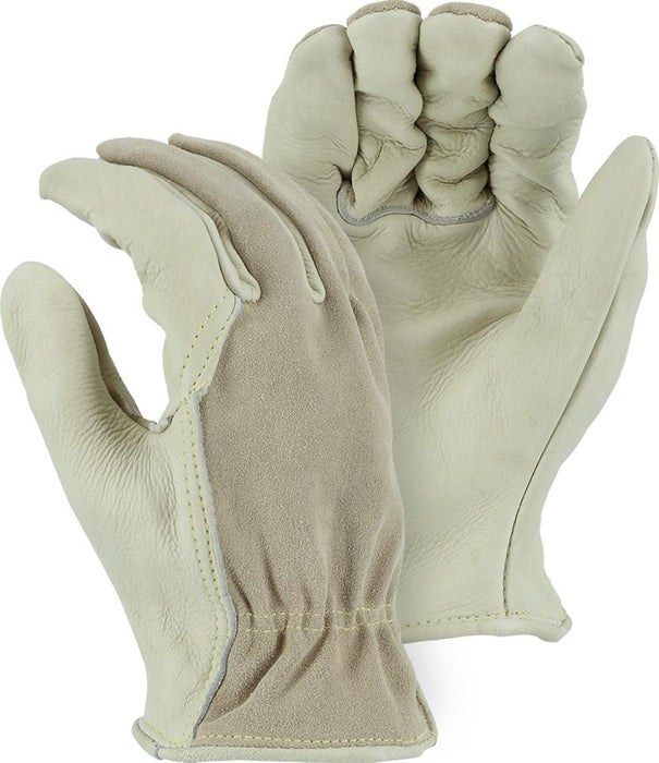 Majestic 1551 Cowhide Combination Leather Driver Gloves Kevlar Sewn (DOZEN) - Global Construction Supply