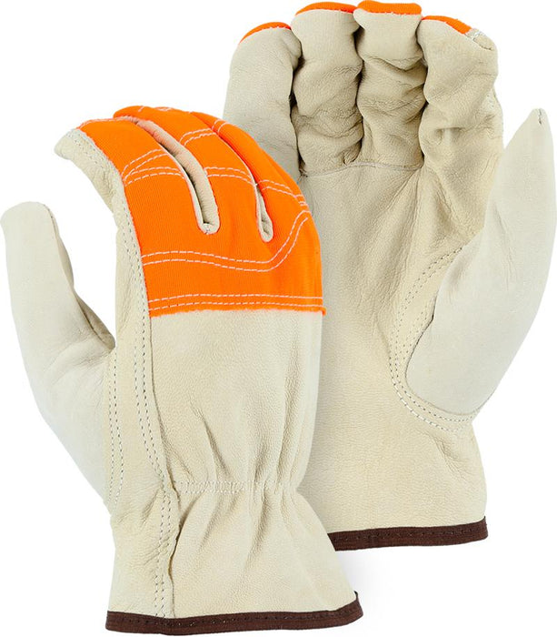 Majestic 1554HVO Goatskin Leather Driver Gloves Hi Vis Orange Fingers (DOZEN) - Global Construction Supply