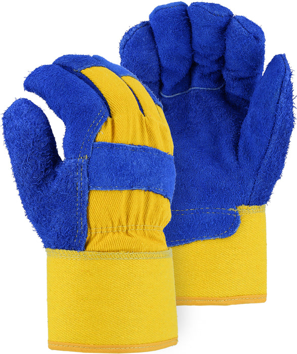 Majestic 1600TW Split Cowhide Leather Work Gloves Waterproof Bladder Thinsulate Lined Blue/Yellow (DOZEN)