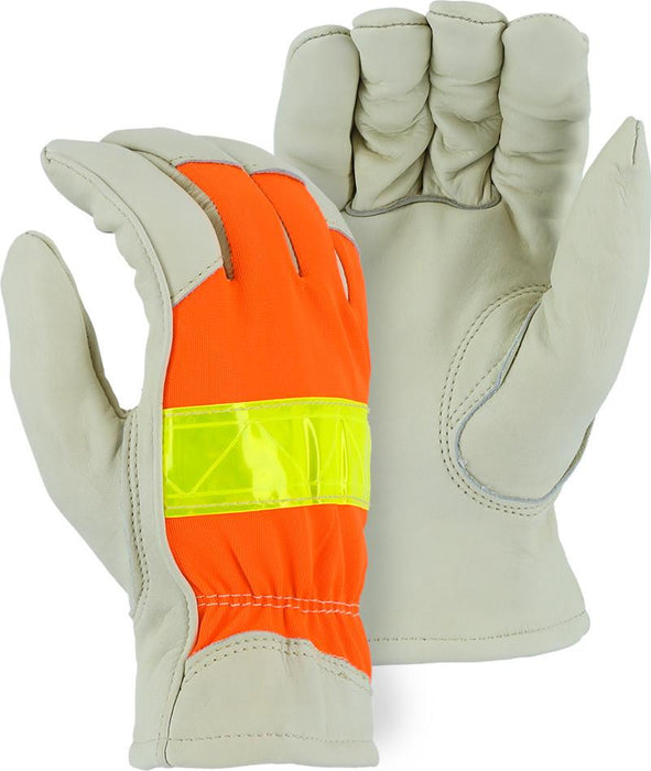 Majestic 1951 Hi Vis Orange Back Cowhide Palm Leather Driver Gloves Thinsulate Lined (DOZEN) - Global Construction Supply