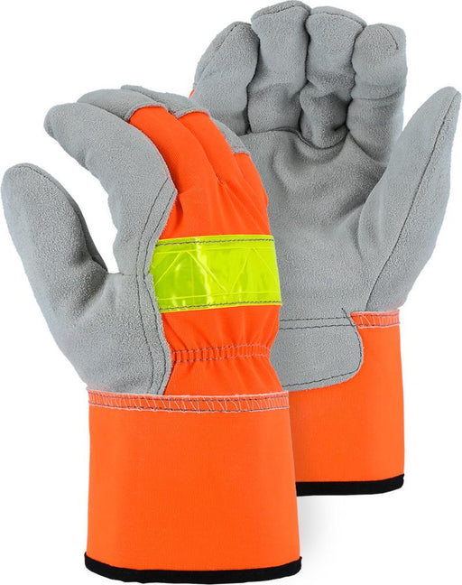 Majestic 1954T Hi Vis Orange Back Cowhide Leather Palm Work Gloves Safety Cuff Thinsulate Lined (DOZEN) - Global Construction Supply