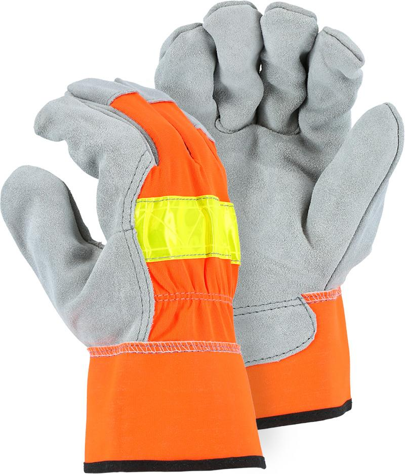 Majestic 1954 Hi Vis Orange Back Cowhide Leather Palm Work Gloves (DOZEN) - Global Construction Supply