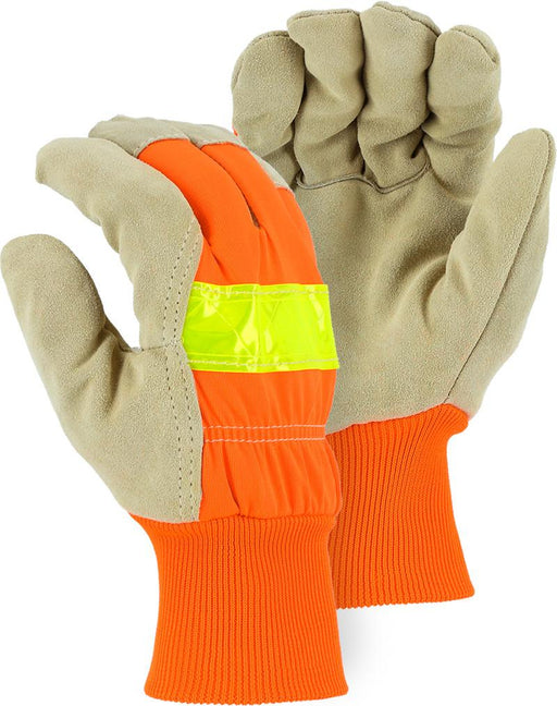 Majestic 1961 Hi Vis Orange Back Split Pigskin Leather Palm Gloves Fleece Lined (DOZEN) - Global Construction Supply