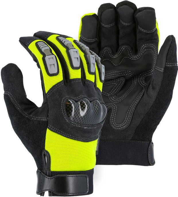 Majestic 2123HVY Hi Vis Yellow Armor Skin Mechanic Style Gloves Velcro Wrist (DOZEN) - Global Construction Supply