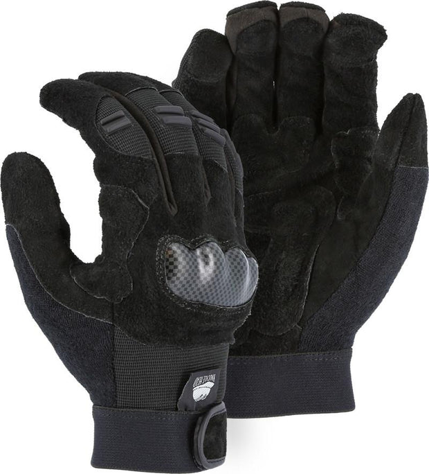 Majestic 2123 Reversed Cowhide Palm Leather Mechanic Style Gloves Padded Patches (DOZEN) - Global Construction Supply