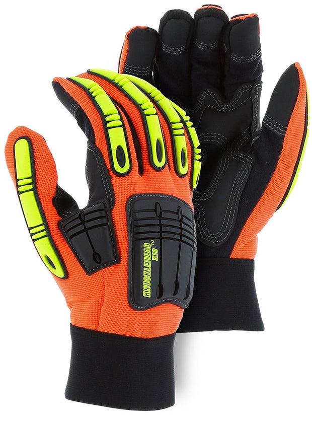 Majestic 21242HO Hi Vis Orange Armor Skin Knucklehead X10 Gloves (DOZEN) - Global Construction Supply
