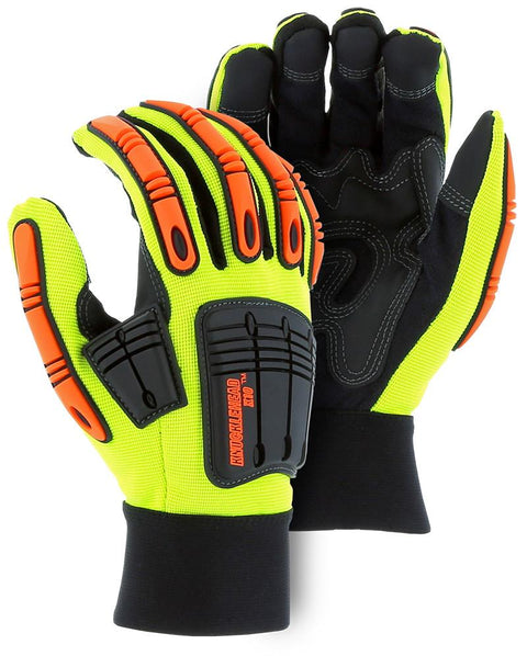 Majestic 21242HY Hi Vis Yellow Armor Skin Knucklehead X10 Gloves (DOZEN) - Global Construction Supply
