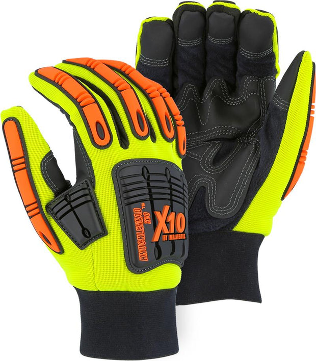 Majestic 21247HY Waterproof Hi Vis Yellow Armor Skin Knucklehead X10 Lined (DOZEN) - Global Construction Supply