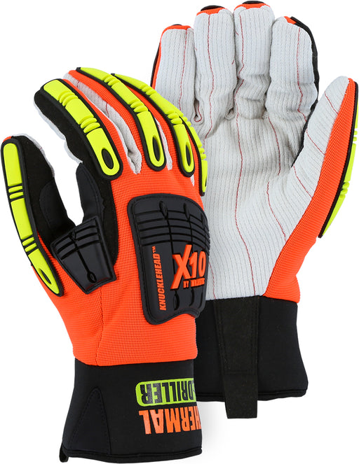Majestic 21267HO Knucklehead Winter Driller Mechanics Glove w Cotton Palm and Impact Protection (DOZEN)